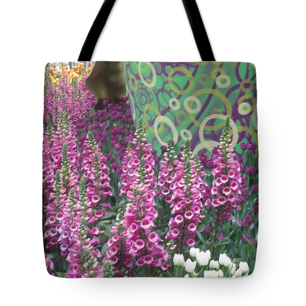 Tote Bag featuring the photograph Butterfly Garden Purple White Flowers Painted Wall by Navin Joshi