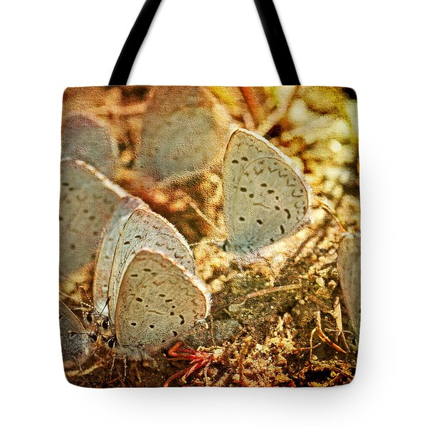Tote Bag featuring the photograph Butterfly Gathering by Peggy Collins