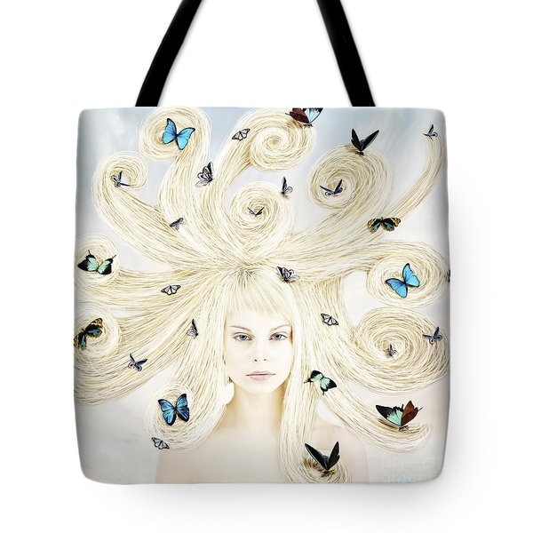 Butterfly Girl Tote Bag by Linda Lees