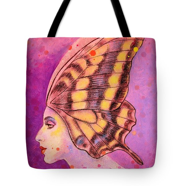 Tote Bag featuring the painting Butterfly Headdress by Sue Halstenberg