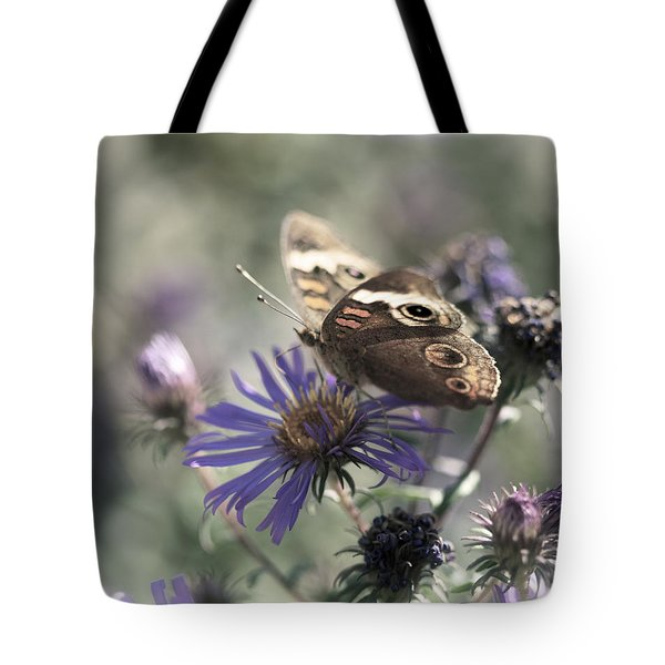 Butterfly In Pastel - Buckeye On Asters Tote Bag by Jane Eleanor Nicholas