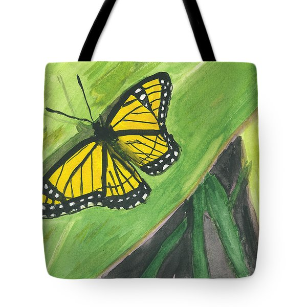Tote Bag featuring the painting Butterfly In Vermont Corn Field by Donna Walsh