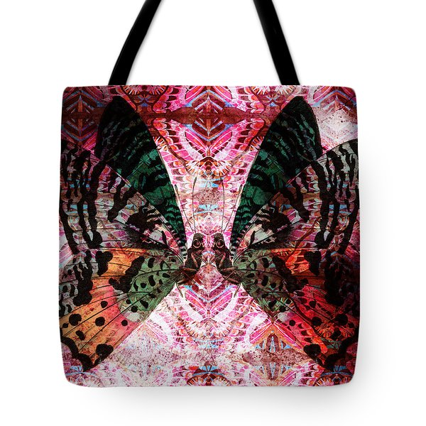 Tote Bag featuring the digital art Butterfly Kaleidoscope by Kyle Hanson