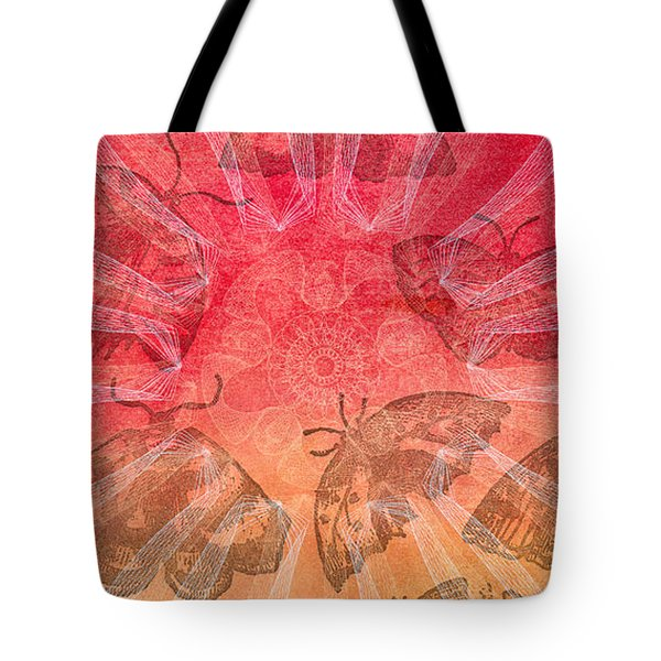 Tote Bag featuring the digital art Butterfly Letterpress Watercolor by Kyle Hanson
