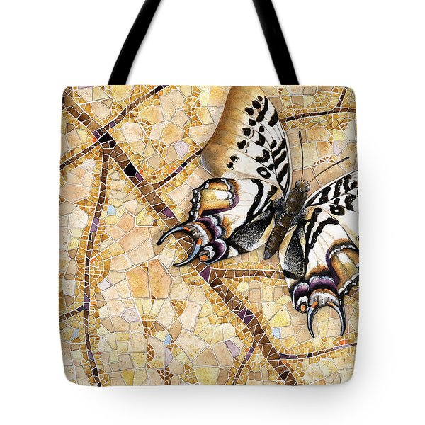 Tote Bag featuring the painting Butterfly Mosaic 01 Elena Yakubovich by Elena Yakubovich