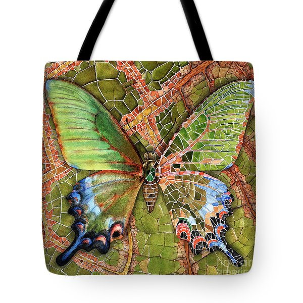 Tote Bag featuring the painting Butterfly Mosaic 03 Elena Yakubovich by Elena Yakubovich