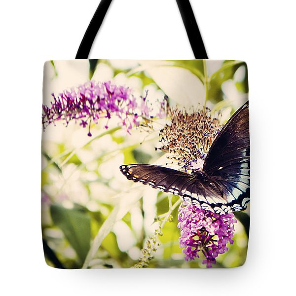 Butterfly On Butterfly Bush Tote Bag