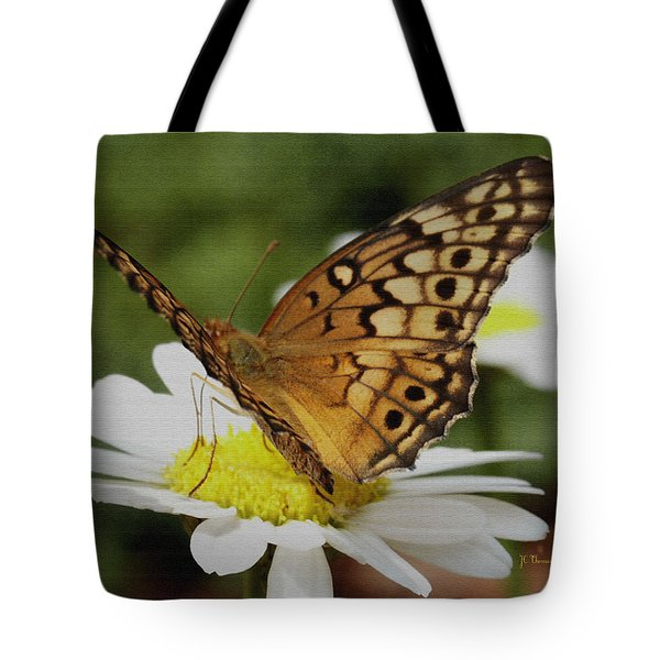 Tote Bag featuring the photograph Butterfly On Daisy by James C Thomas