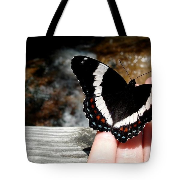 Butterfly On Fingertips Tote Bag