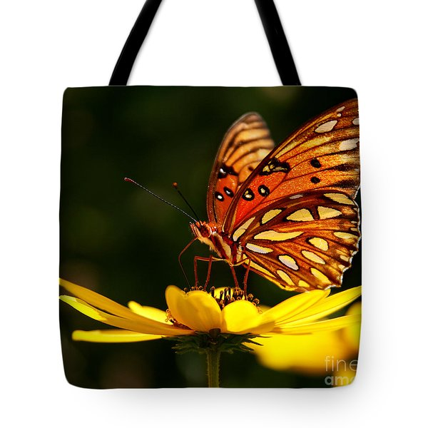 Butterfly On Flower Tote Bag by Joan McCool