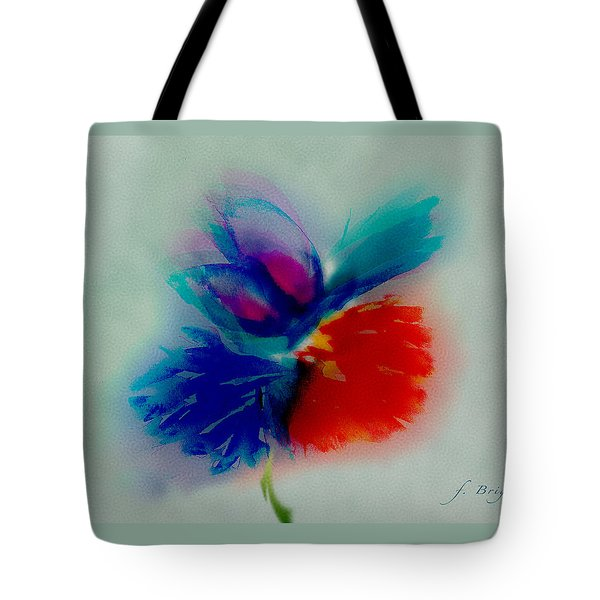 Tote Bag featuring the digital art Butterfly On Flower Mixed Media by Frank Bright