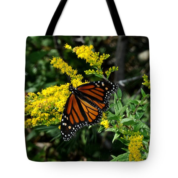 Tote Bag featuring the photograph Butterfly On Goldenrod by Diane Lent
