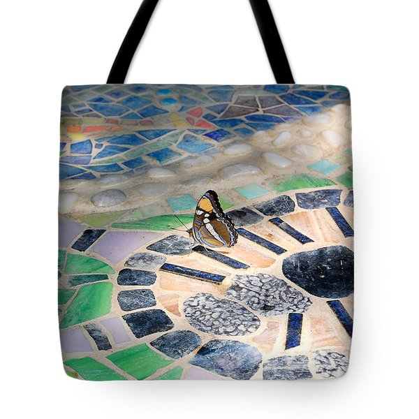 Butterfly On Mosaic Oasis Tote Bag
