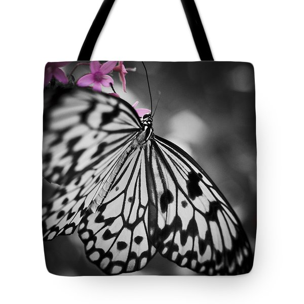 Butterfly On Pink Flowers Tote Bag by Bradley R Youngberg