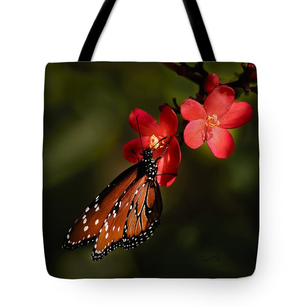 Butterfly On Red Blossom Tote Bag