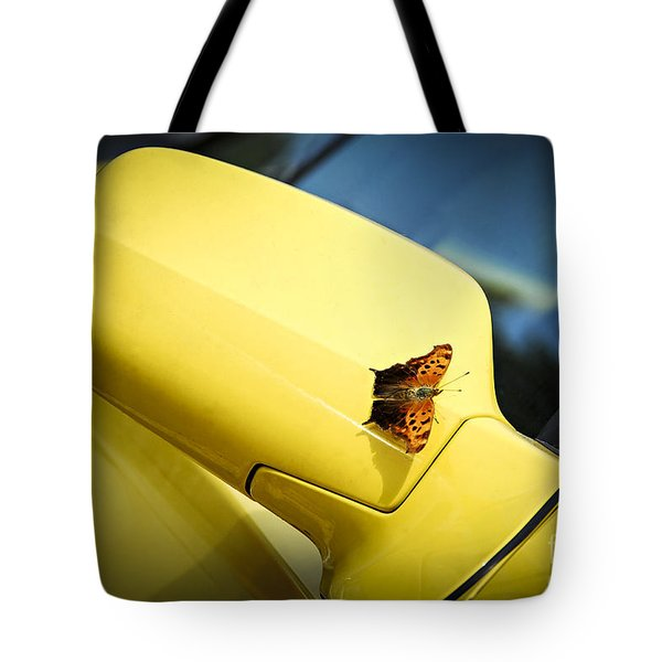 Butterfly On Sports Car Mirror Tote Bag by Elena Elisseeva