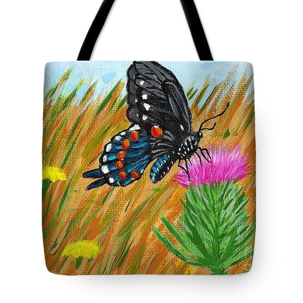 Butterfly On Thistle Tote Bag by Vicki Maheu