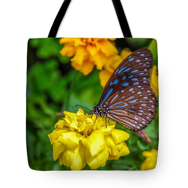 Butterfly On Yellow Marigold Tote Bag