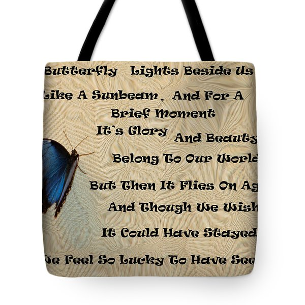 Butterfly Poem Tote Bag by Aimee L Maher Photography and Art Visit ALMGallerydotcom