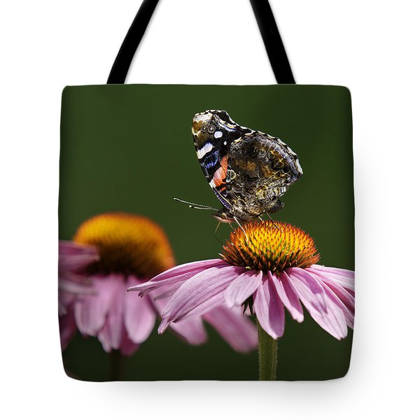 Tote Bag featuring the photograph Butterfly Red Admiral On Echinacea by Peter v Quenter