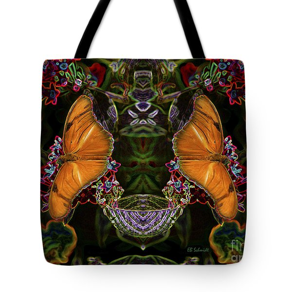 Tote Bag featuring the digital art Butterfly Reflections 04 - Julia Heliconian by E B Schmidt