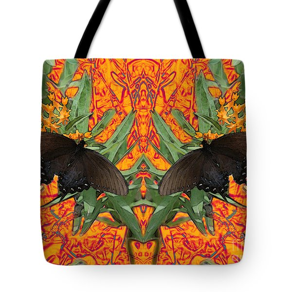 Tote Bag featuring the digital art Butterfly Reflections 06 - Spicebush Swallowtail by E B Schmidt