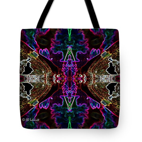 Tote Bag featuring the digital art Butterfly Reflections 08 - Silver Spotted Skipper Reflections by E B Schmidt