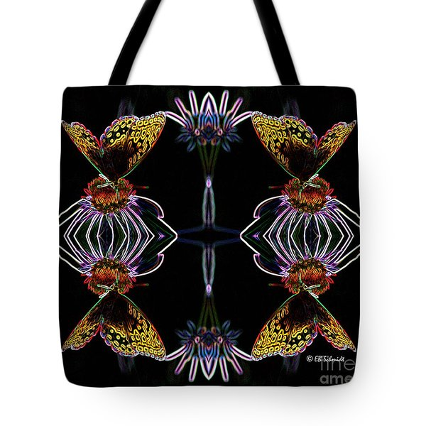 Tote Bag featuring the digital art Butterfly Reflections 10  - Great Spangled Fritillary by E B Schmidt