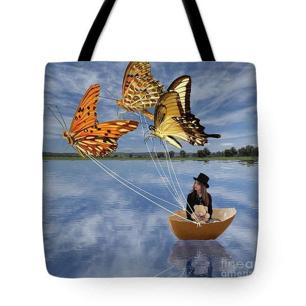 Butterfly Sailing Tote Bag by Linda Lees