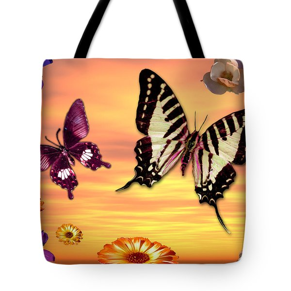 Butterfly Sunset Tote Bag by Alixandra Mullins