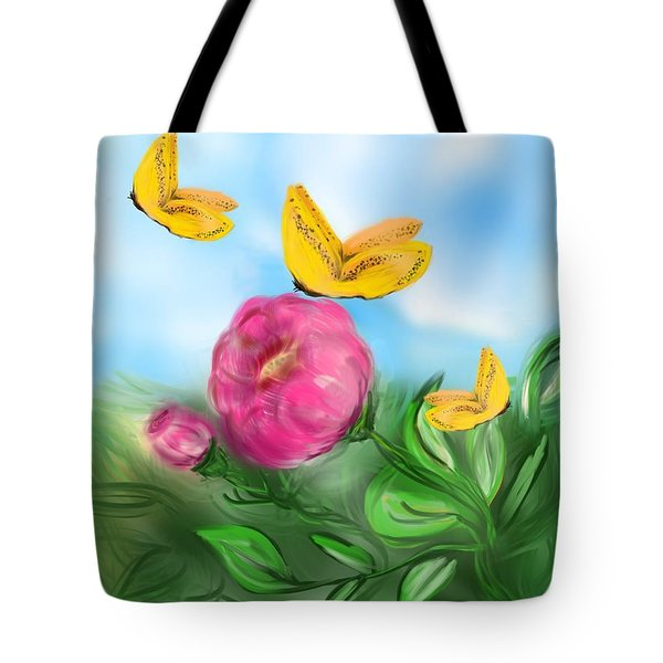 Tote Bag featuring the digital art Butterfly Triplets by Christine Fournier