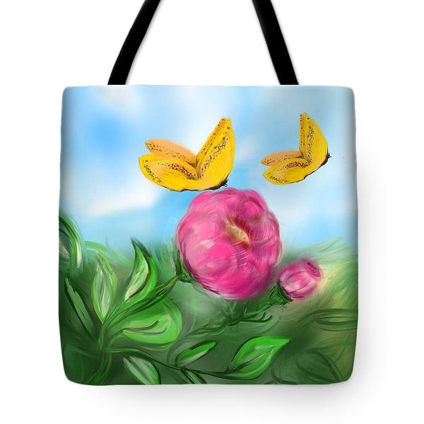 Tote Bag featuring the digital art Butterfly Twins by Christine Fournier