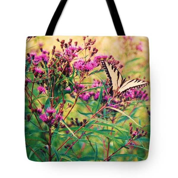 Tote Bag featuring the painting Butterfly Wildflower by Eric  Schiabor