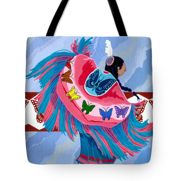 Tote Bag featuring the painting Butteryfly Fancy Dancer by Chholing Taha