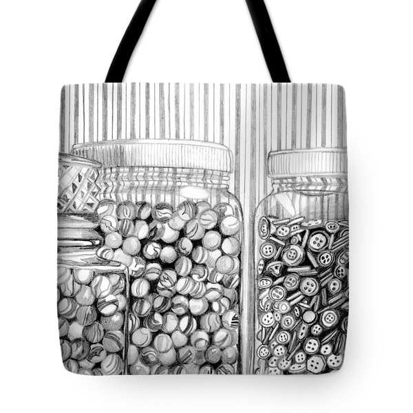 Tote Bag featuring the drawing Buttons And Stripes by Mary Bedy