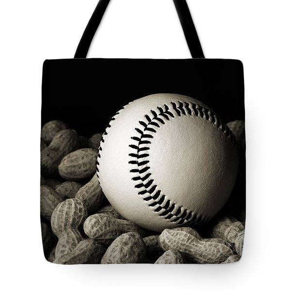 Buy Me Some Peanuts - Baseball - Nuts - Snack - Sport - B W Tote Bag by Andee Design