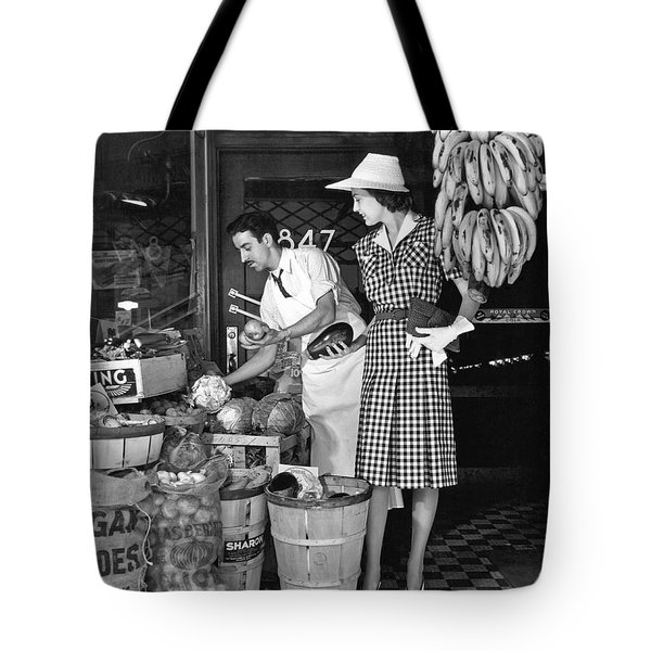 Buying Fruit And Vegetables Tote Bag by Underwood Archives