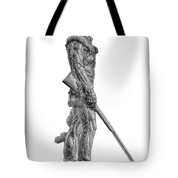 Bw Of Mountaineer Statue Tote Bag by Dan Friend
