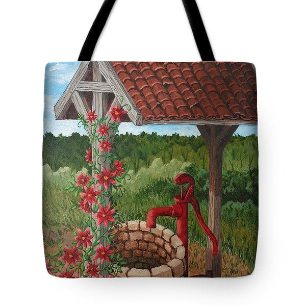 Tote Bag featuring the painting By The Water Pump by Katherine Young-Beck