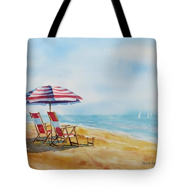 Tote Bag featuring the painting By The Waterfront by Debbie Lewis