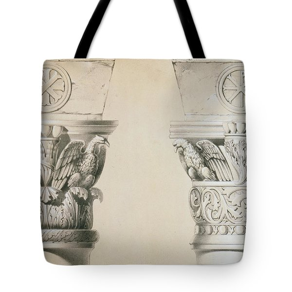 Byzantine Capitals From Columns In The Nave Of The Church Of St Demetrius In Thessalonica Tote Bag by Charles Felix Marie Texier