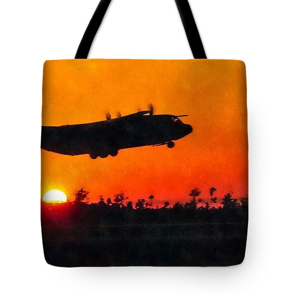 C-130 Sunset Tote Bag by Paul Fearn
