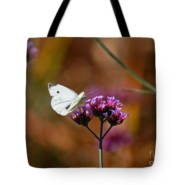 Cabbage White Butterfly In Fall Tote Bag by Karen Adams