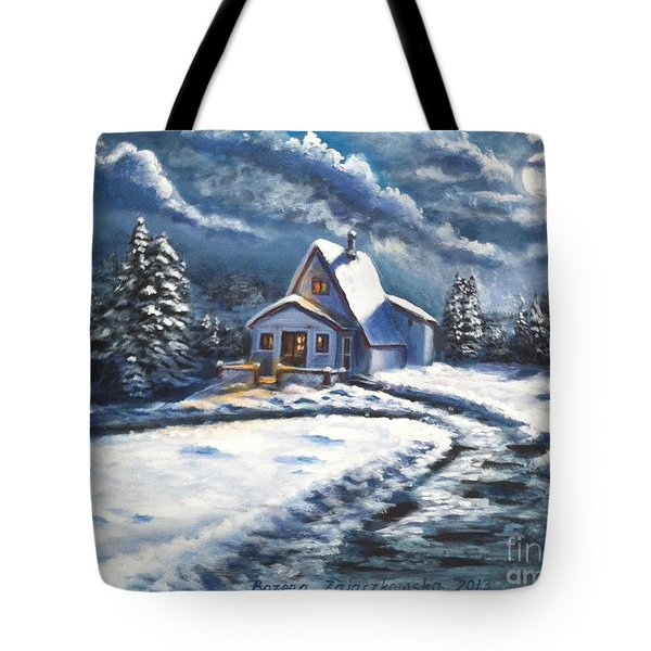 Cabin At Night Tote Bag