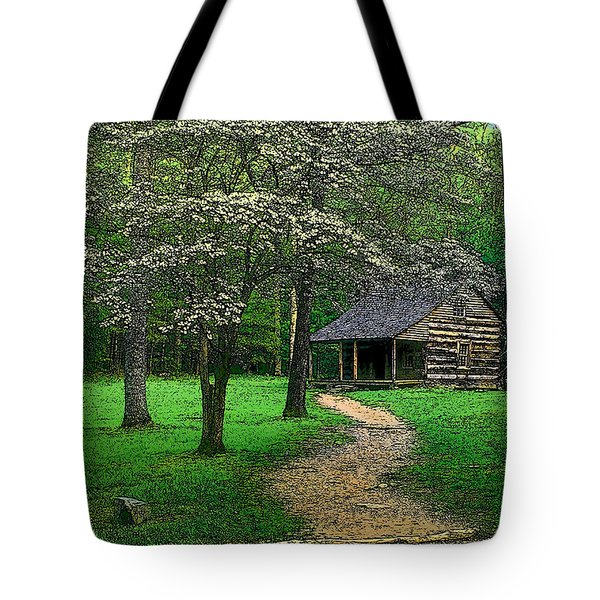 Tote Bag featuring the photograph Cabin In Cades Cove by Rodney Lee Williams