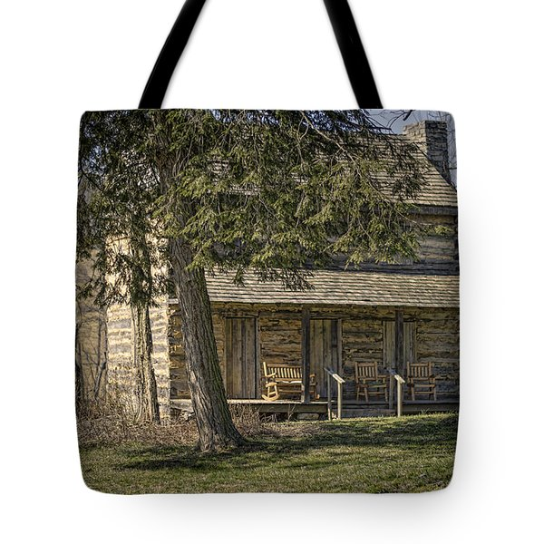 Cabin In The Wood Tote Bag by Heather Applegate