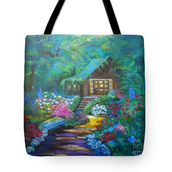 Cabin In The Woods Tote Bag by Jenny Lee