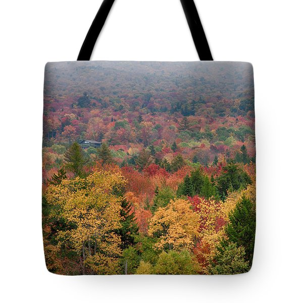Tote Bag featuring the photograph Cabin In Vermont Fall Colors by Jeff Folger