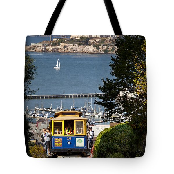 Cable Car In San Francisco Tote Bag