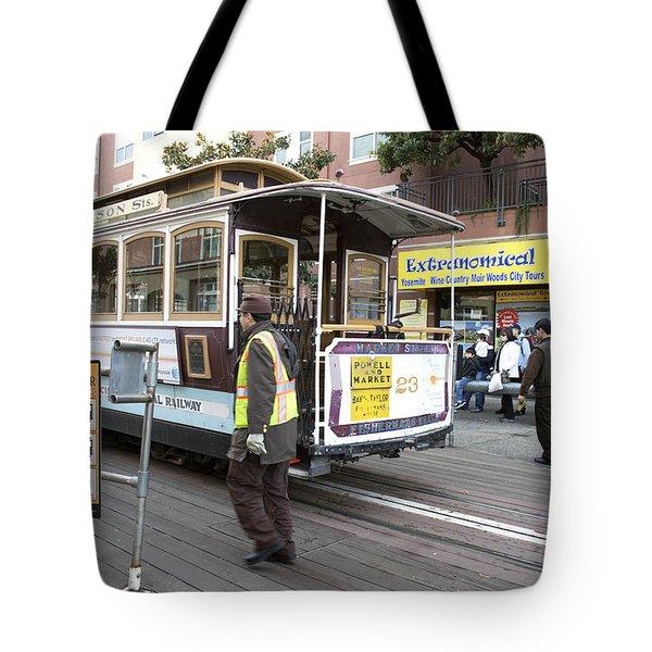 Cable Car Turn Around Fisherman's Wharf Tote Bag